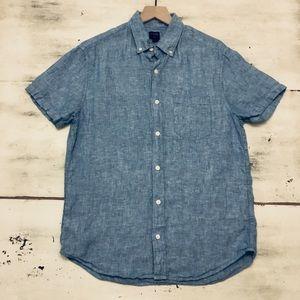 J. Crew Factory linen button up short sleeve shirt